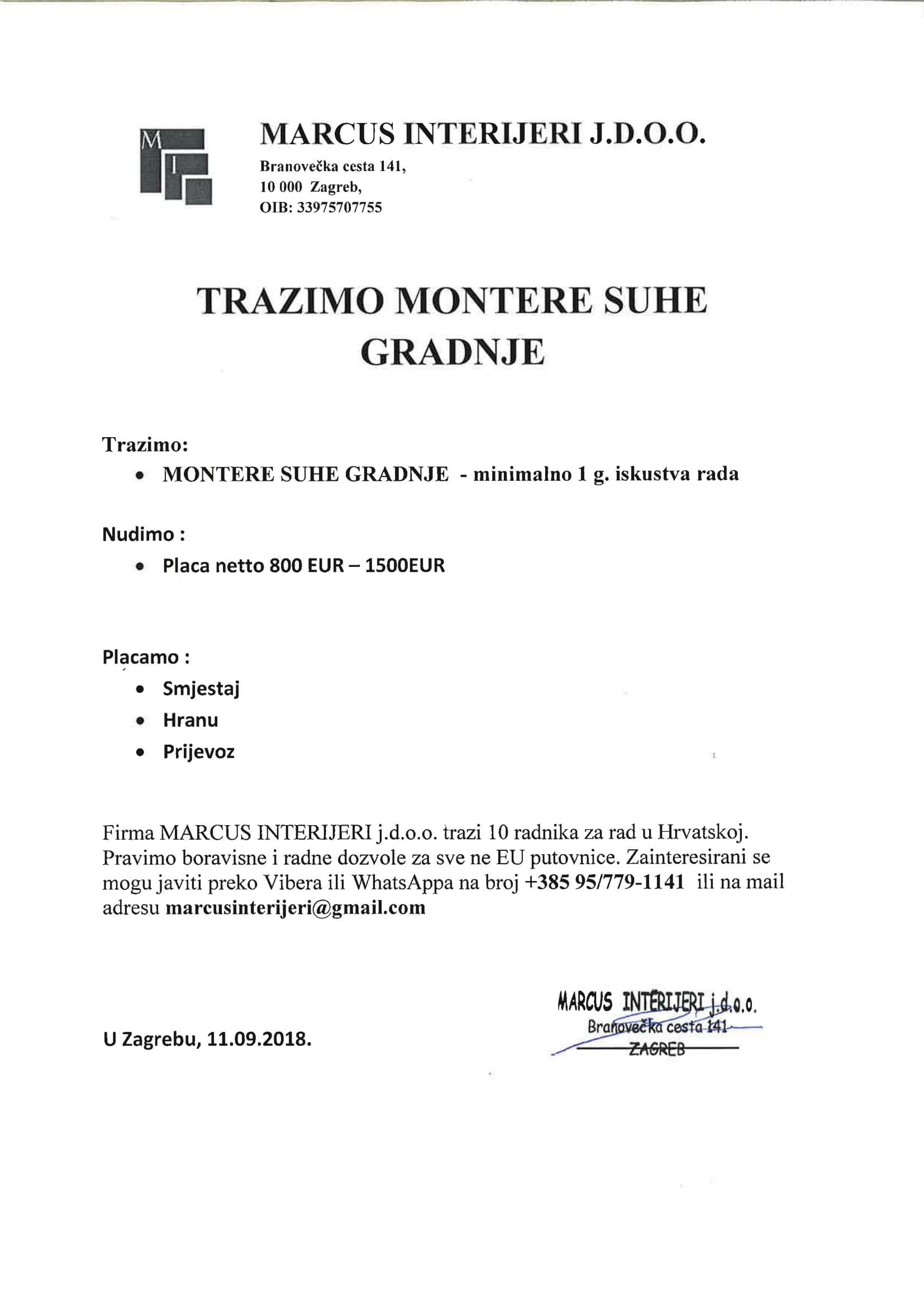 MARCUS INTERIJERI doo - Zagreb HR
