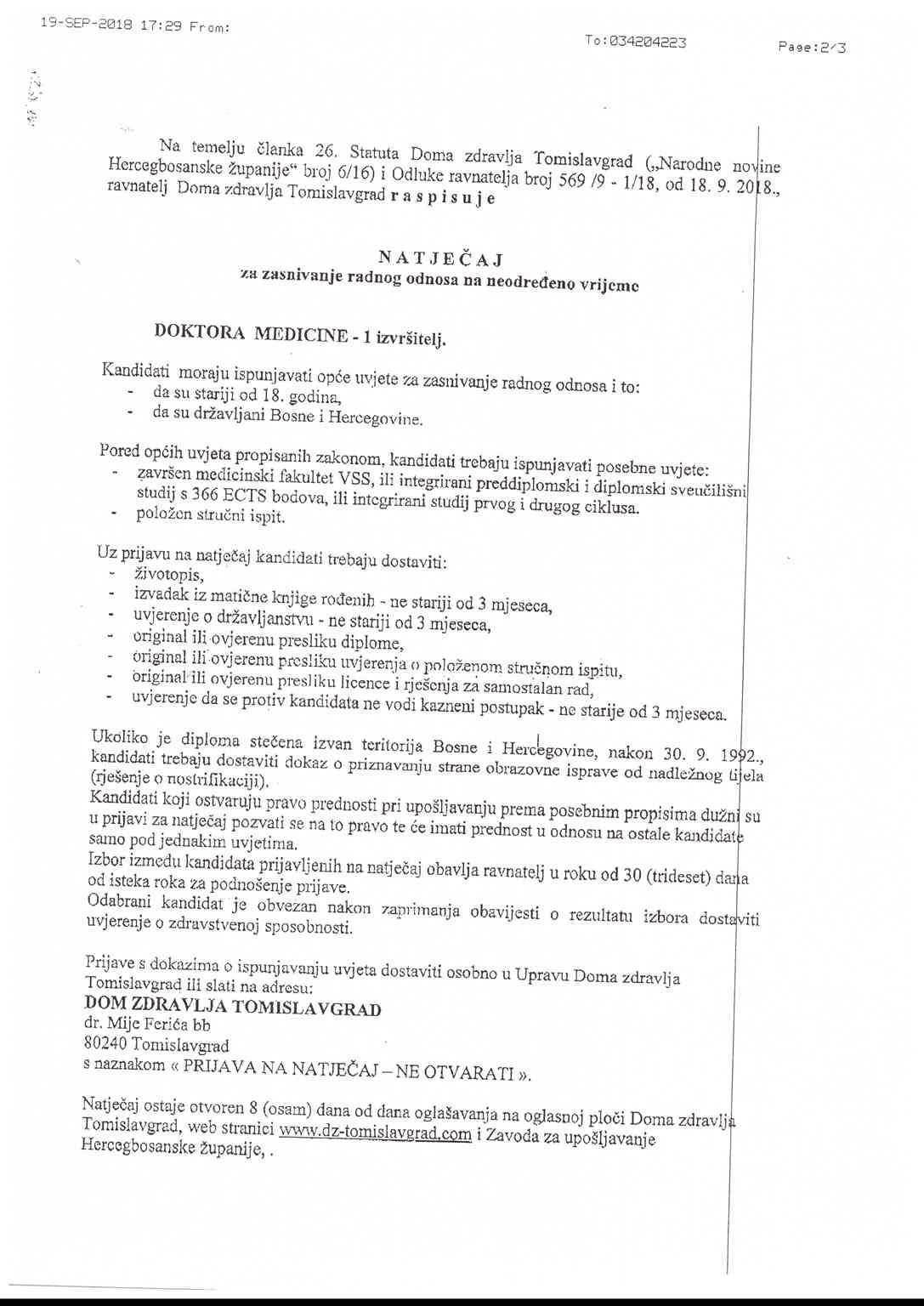 Doktor medicine - Dom zdravlja Tomislavgrad