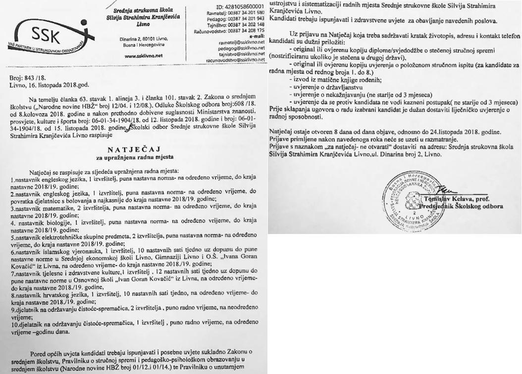 Srednja Strukovna Škola SSK Livno - najtječaj za više radnih mjesta