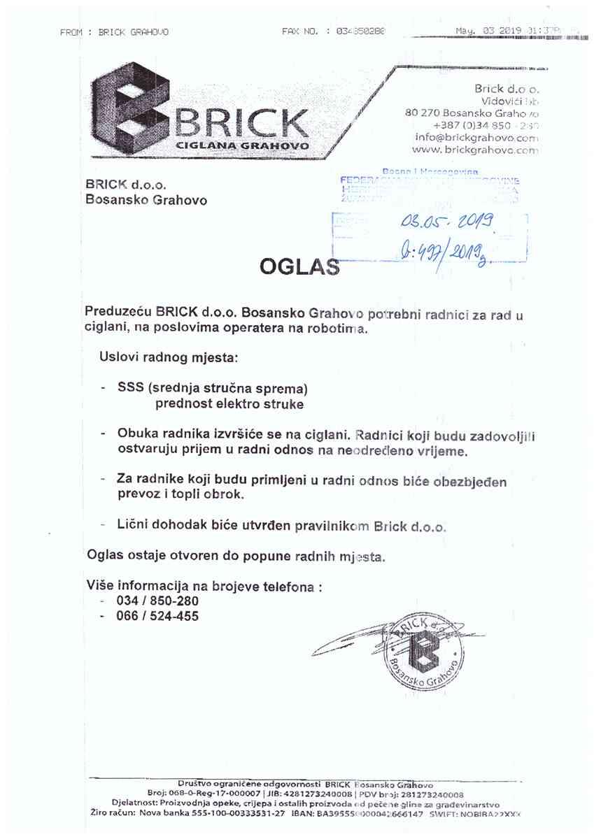 BRICK ciglana Bosansko Grahovo - operater na robotima