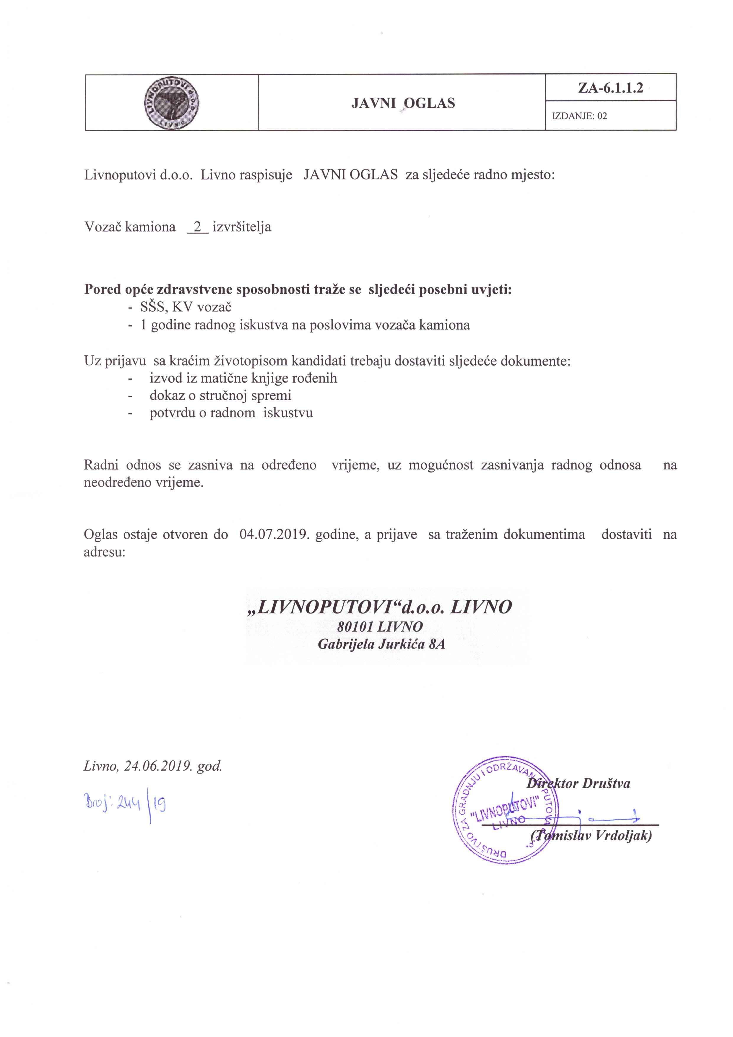 Vozač kamiona 2 izvršitelja- Livnoputovi d.o.o