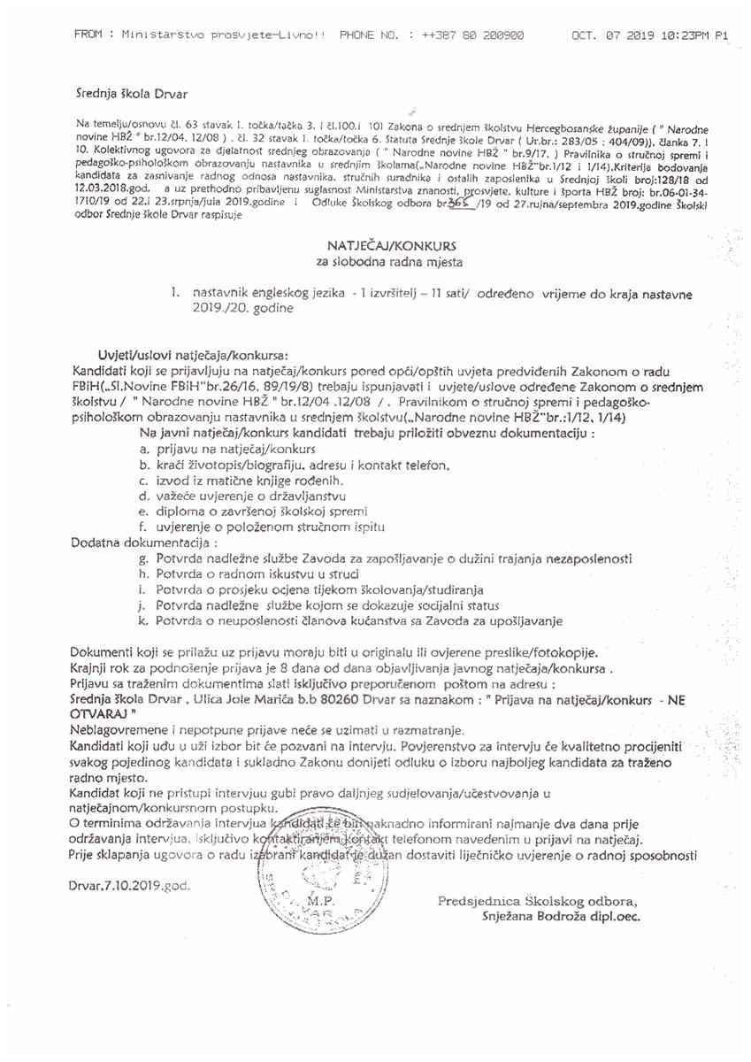 Srednja škola Drvar-Nastavnik engleskog jezika