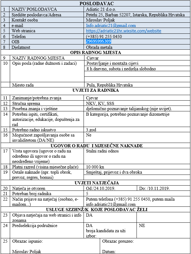 Adriatic 21 d.o.o Republika Hrvatska - 5 cijevara