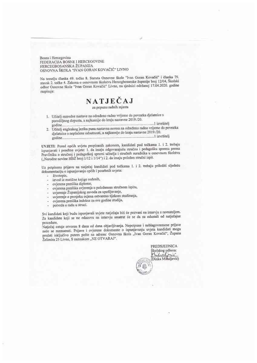Zupanijski Zavod Za Uposljavanje Livno