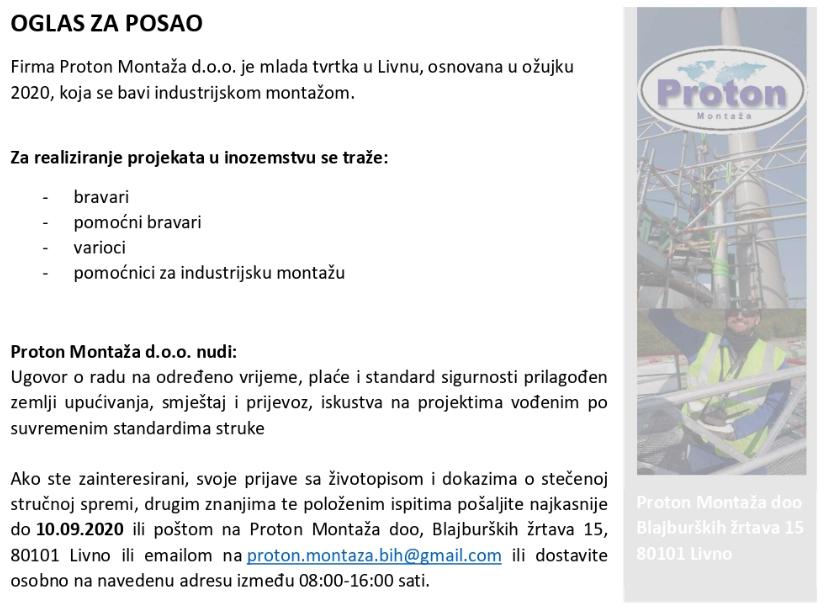 Proton montaža d.o.o Livno - Oglas za više radnih mjesta u inozemstvu