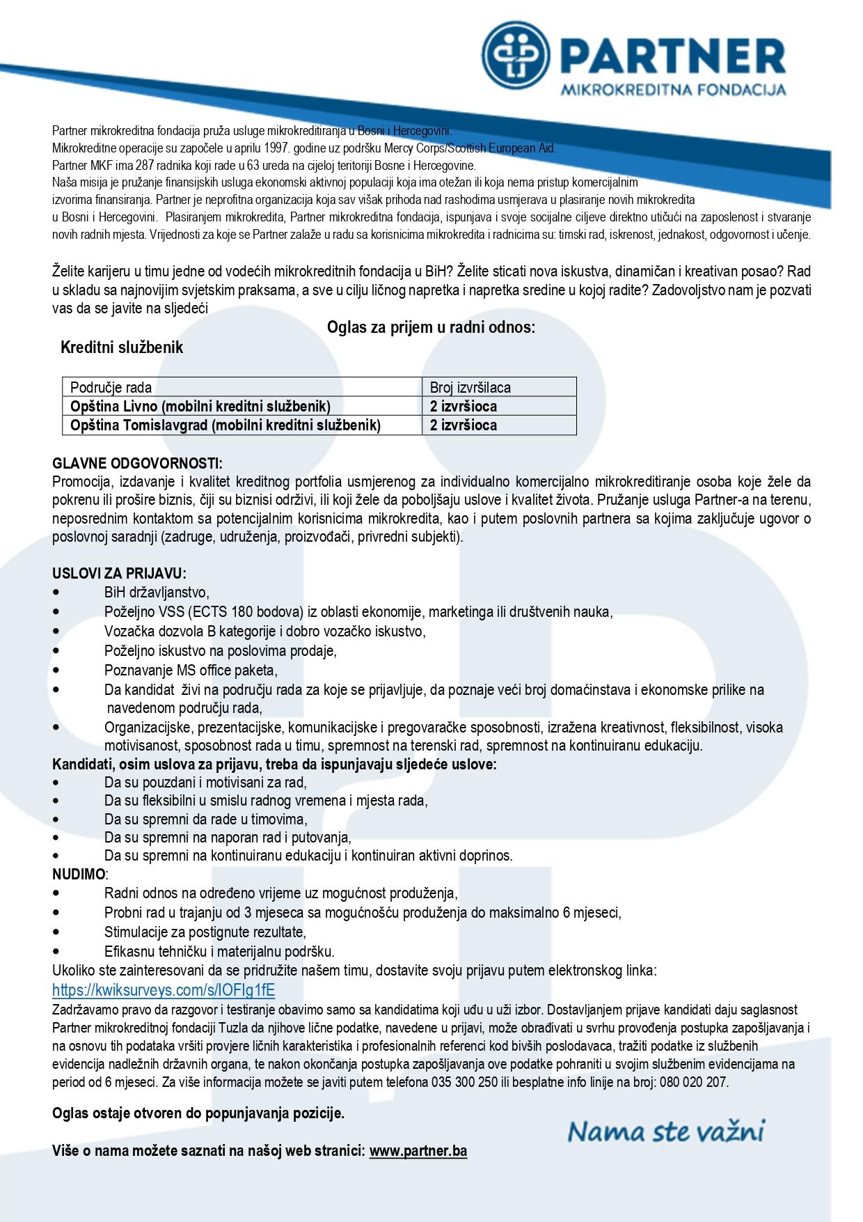 Oglas za prijem kreditnog službenika - Partner mikrokreditna organizacija