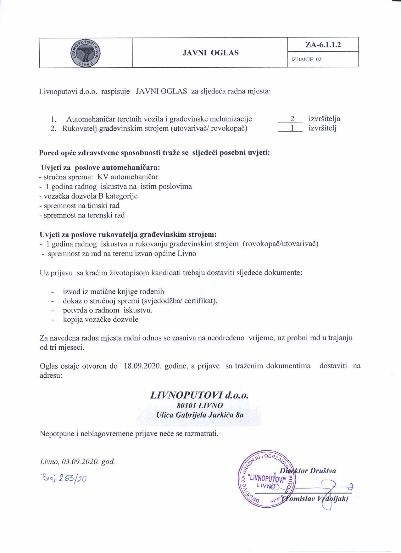 LIVNOPUTOVI d.o.o - natječaj za više radnih mjesta